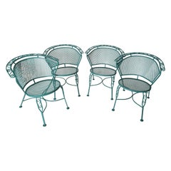Set of Four Curved Back Wrought Iron Garden Chairs