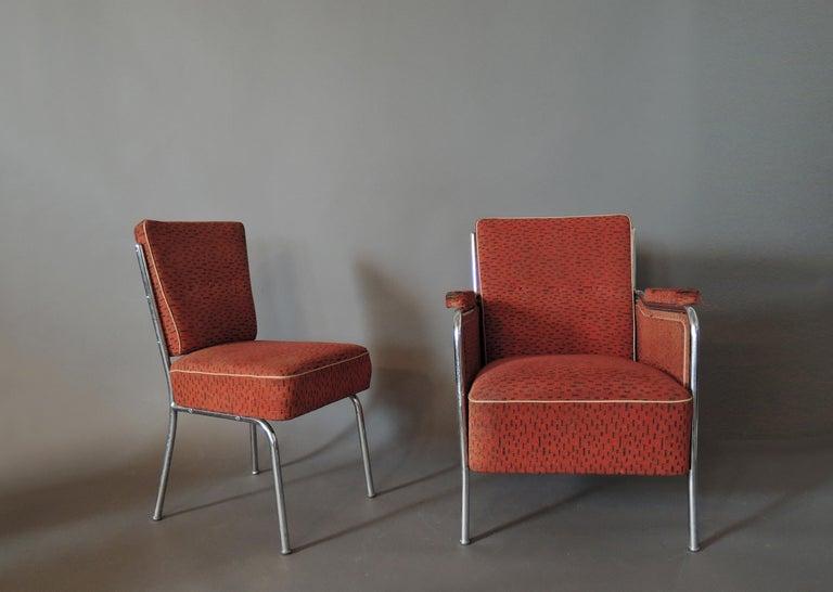 Set of Four Czech 1930s Tubular Chrome Chairs For Sale 5