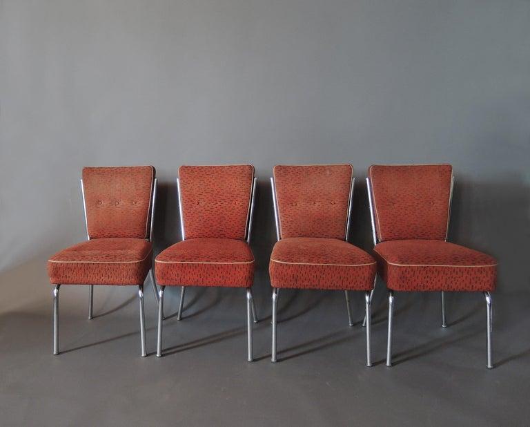 Set of Four Czech 1930s Tubular Chrome Chairs For Sale 6