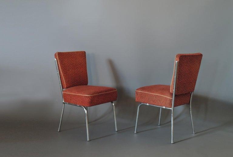 A set of four Czech Art Deco tubular chrome chairs.