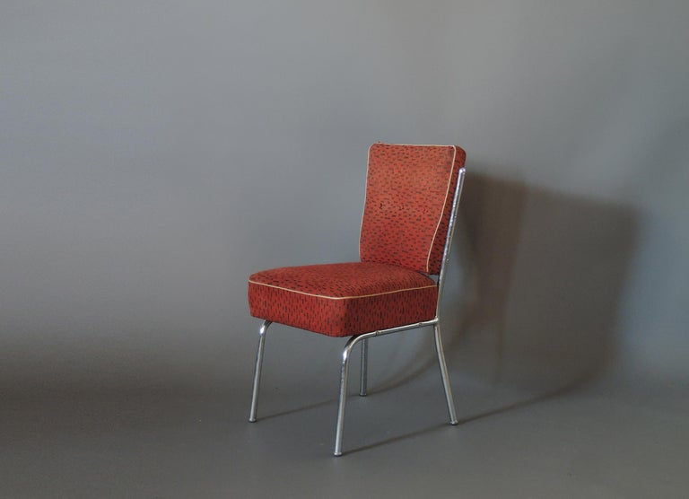Set of Four Czech 1930s Tubular Chrome Chairs In Good Condition For Sale In Long Island City, NY