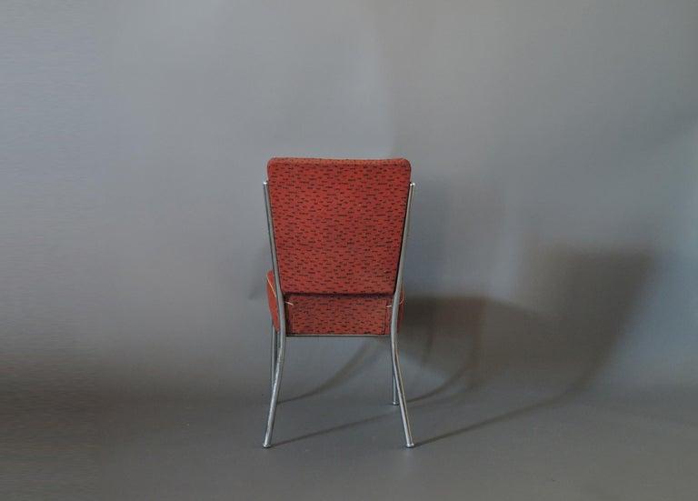 Set of Four Czech 1930s Tubular Chrome Chairs For Sale 2