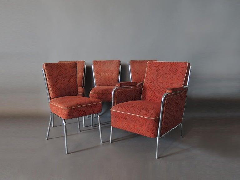 Set of Four Czech 1930s Tubular Chrome Chairs For Sale 3