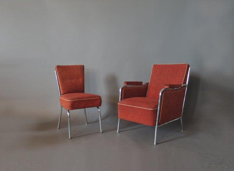Set of Four Czech 1930s Tubular Chrome Chairs For Sale 4