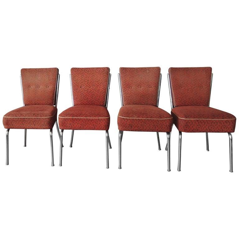Set of Four Czech 1930s Tubular Chrome Chairs For Sale