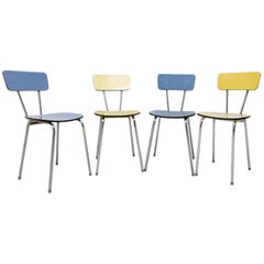 Set of Four Czechoslovak Colored Formica Cafe Chairs, 1960s