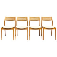 Set of Four Danisch Midcentury Oak Dining Chairs, 1950s