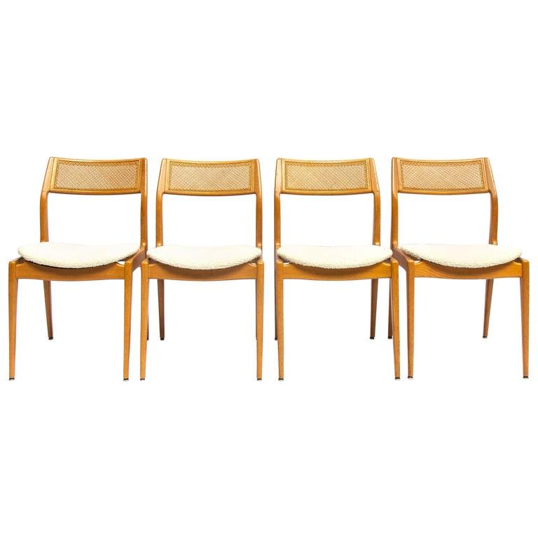 Set of Four Danisch Midcentury Oak Dining Chairs, 1950s