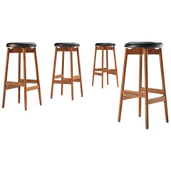 Set of Four Danish Bar Stools in Oak and Leather