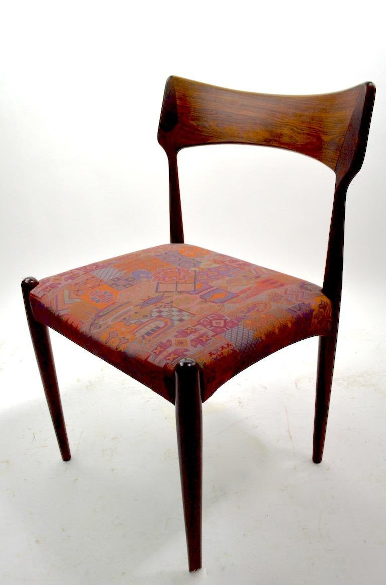 Set of Four Danish Mid Century Dining Chairs in Rosewood Attributed to AM Mobler For Sale 3