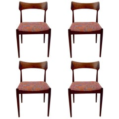 Set of Four Danish Mid Century Dining Chairs in Rosewood Attributed to AM Mobler