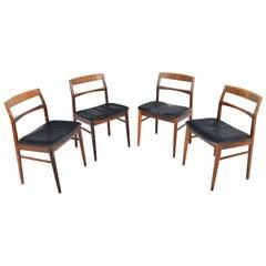 Set of Four Danish Modern Ladderback Henning Kjærnulf Rosewood Dining Chairs