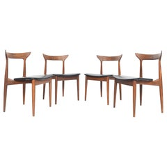 Set of Four Danish Modern Midcentury Dining Chairs in Walnut