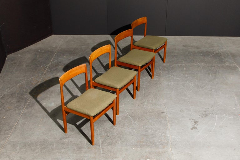 Fabric Set of Four Danish Modern Teak Dining Side Chairs in the Style of Niels Møller  For Sale