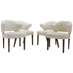 Set of Four Danish Oak Armchairs with Sheepskin Upholstery, 1960s