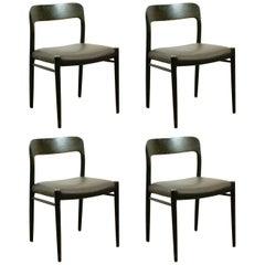 Set of Four Dark Brown Scandinavian Mod 75 Oak Dining Chairs by Niels Møller