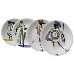Set of Four Decorative Plates by Roger Capron, circa 1950s