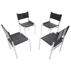 Set of Four Design Chrome Dining Chairs by Viliam Chlebo, Czechoslovakia, 1980s