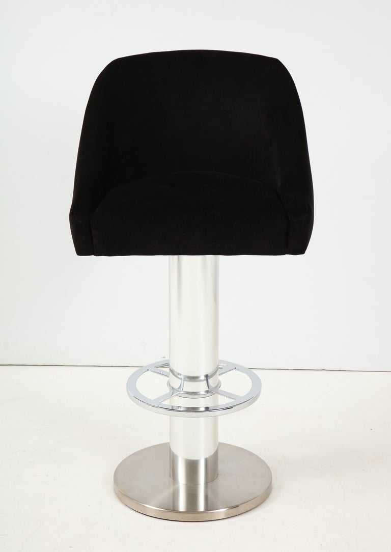 American Set of Four Design For Leisure Barstools in Chrome and Ultrasuede For Sale