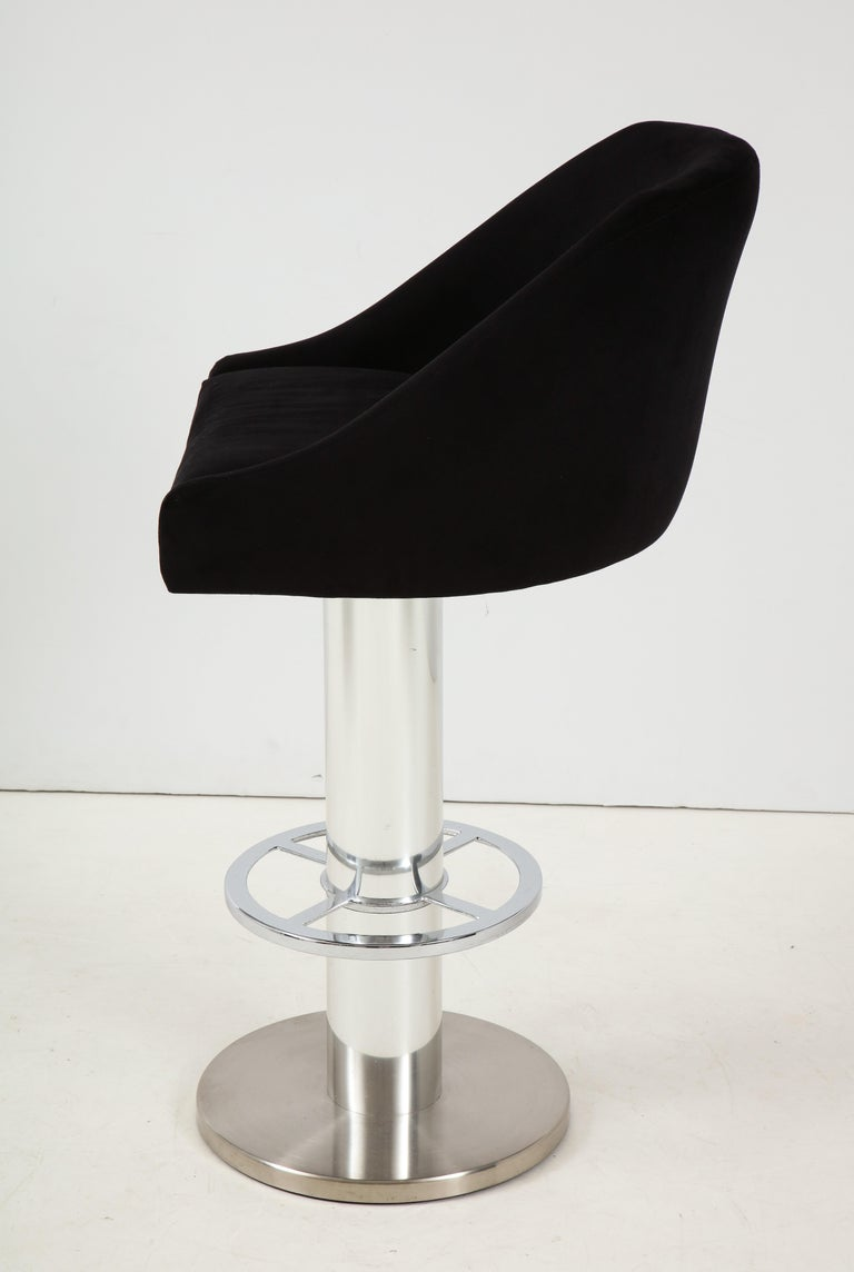 Late 20th Century Set of Four Design For Leisure Barstools in Chrome and Ultrasuede For Sale