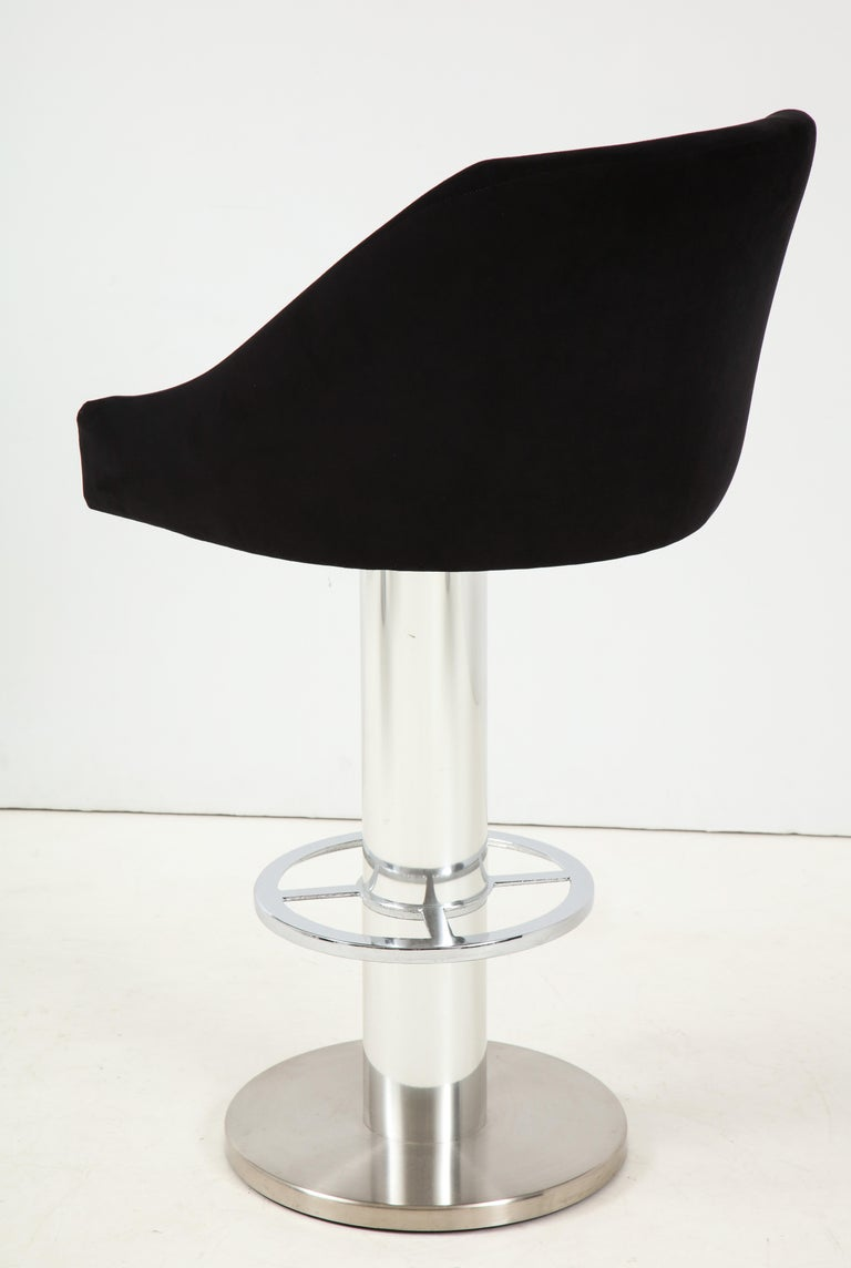 Set of Four Design For Leisure Barstools in Chrome and Ultrasuede For Sale 1