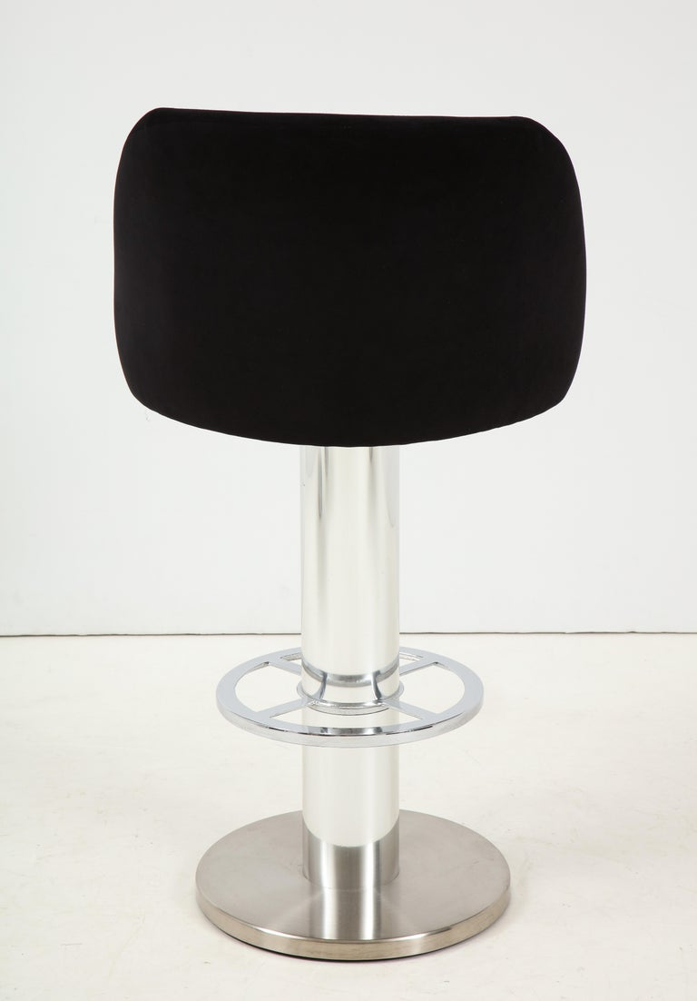 Set of Four Design For Leisure Barstools in Chrome and Ultrasuede For Sale 2