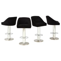 Set of Four Design For Leisure Barstools in Chrome and Ultrasuede