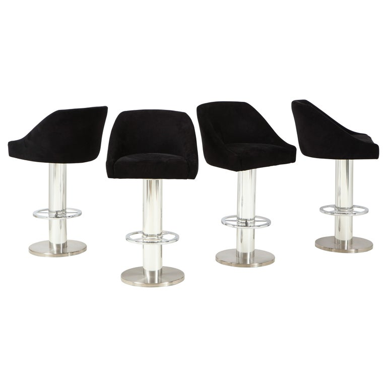 Set of Four Design For Leisure Barstools in Chrome and Ultrasuede For Sale