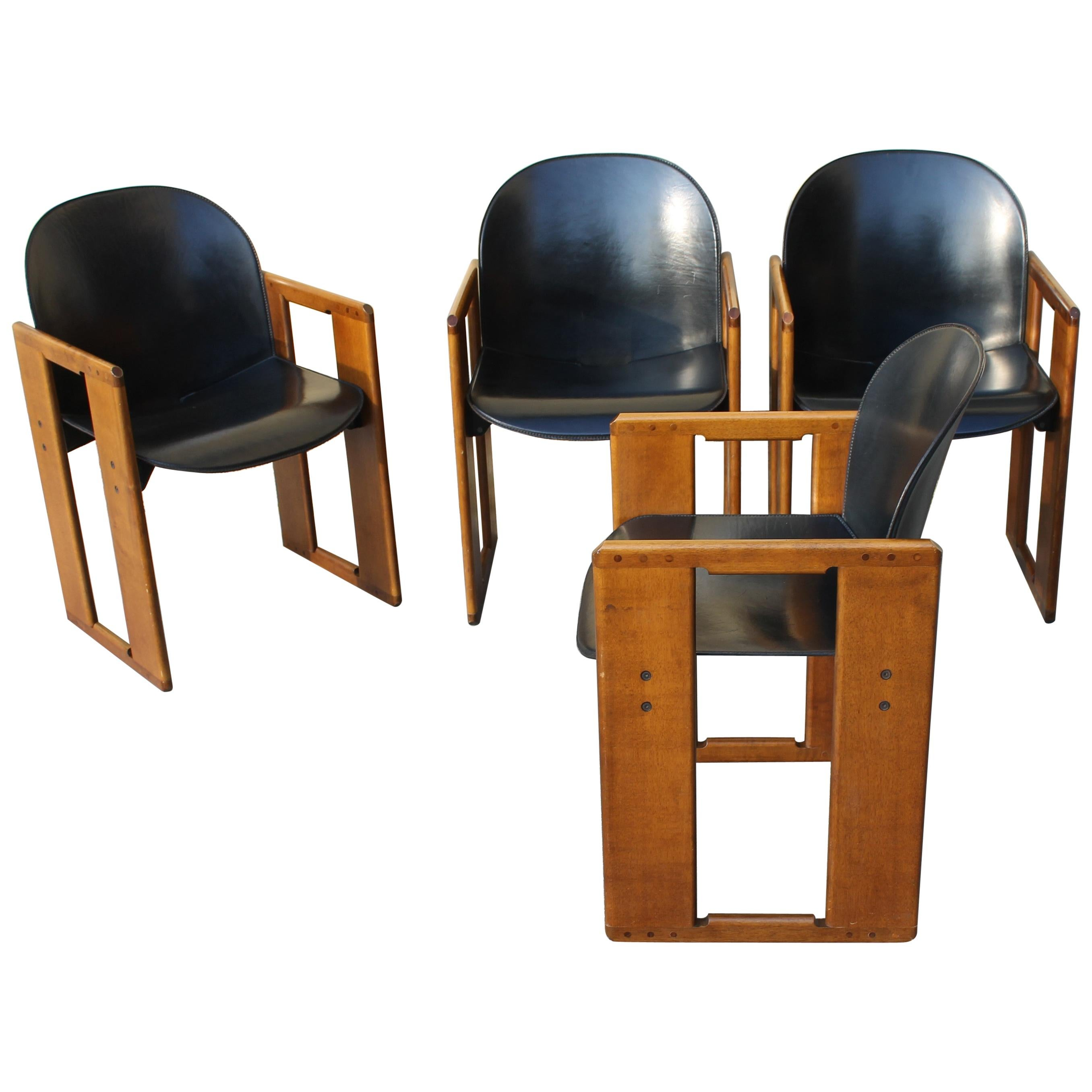 """Set of Four """"Dialogo"""" Black Leather Chairs by Tobia Scarpa for B&B, Italy, 70s"""