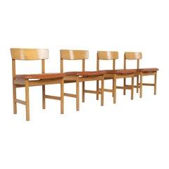 Set of Four Dining Chairs Børge Mogensen Model 3236 for Fredericia, Denmark 1976