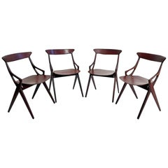 Set of Four Dining Chairs by Arne Hovmand-Olsen for Mogens Kold, Denmark, 1959