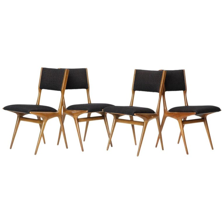 Set of Four Dining Chairs by Carlo di Carli For Sale