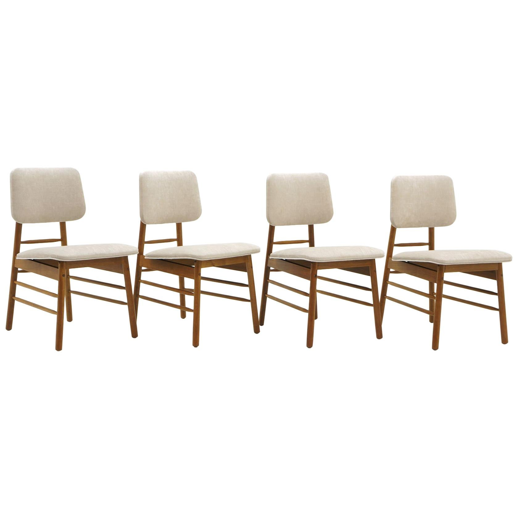 Set of Four Dining Chairs by Greta Grossman, New Knoll Upholstery, Excellent