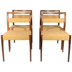 Set of Four Dining Chairs by Kai Kristiansen in Brazilian Rosewood