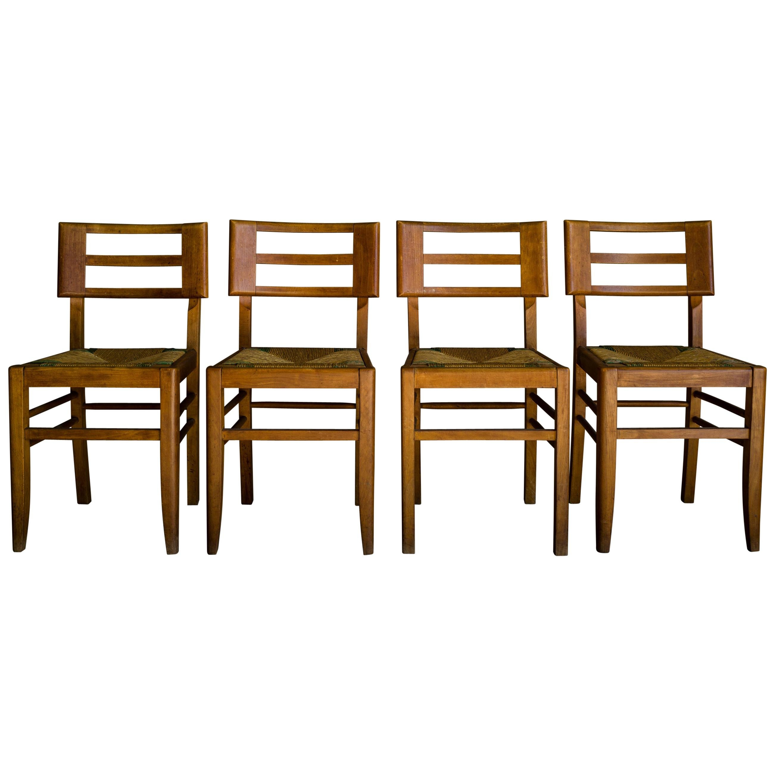 Set of Four Dining Chairs by Pierre Cruege, France, 1940s