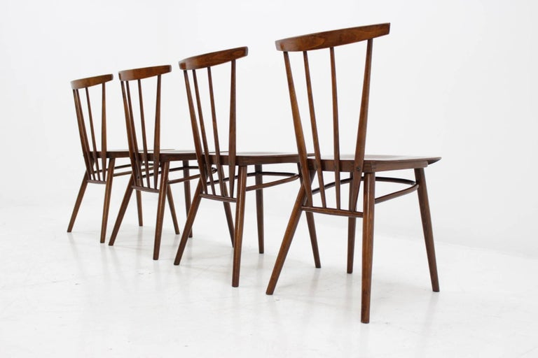 Scandinavian Modern Set of Four Dining Chairs For Sale