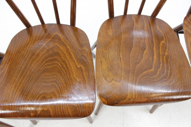 Wood Set of Four Dining Chairs For Sale
