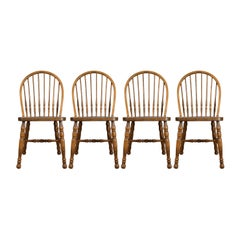 Set of Four Dining Chairs, French Windsor Hoop Stick-Back, Beech, 20th Century