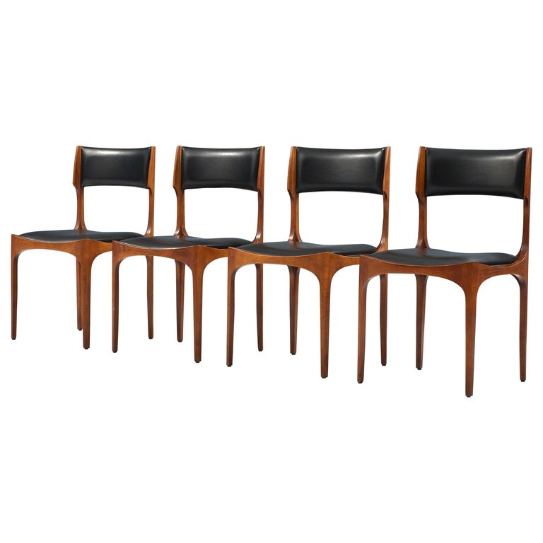 Set of Four Dining Chairs in Oak and Faux Leather by Giuseppe Gibelli, 1962 For Sale