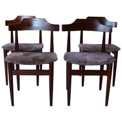 Set of Four Dining Chairs in Rosewood and Grey Fabric by Hans Olsen, 1960s