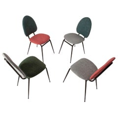 Set of Four Dining Chairs, in Various Colors, Spain, 1950s