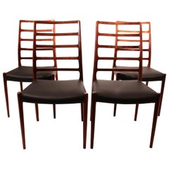Set of Four Dining Chairs, Model 82, Designed by N.O. Møller from the 1960s