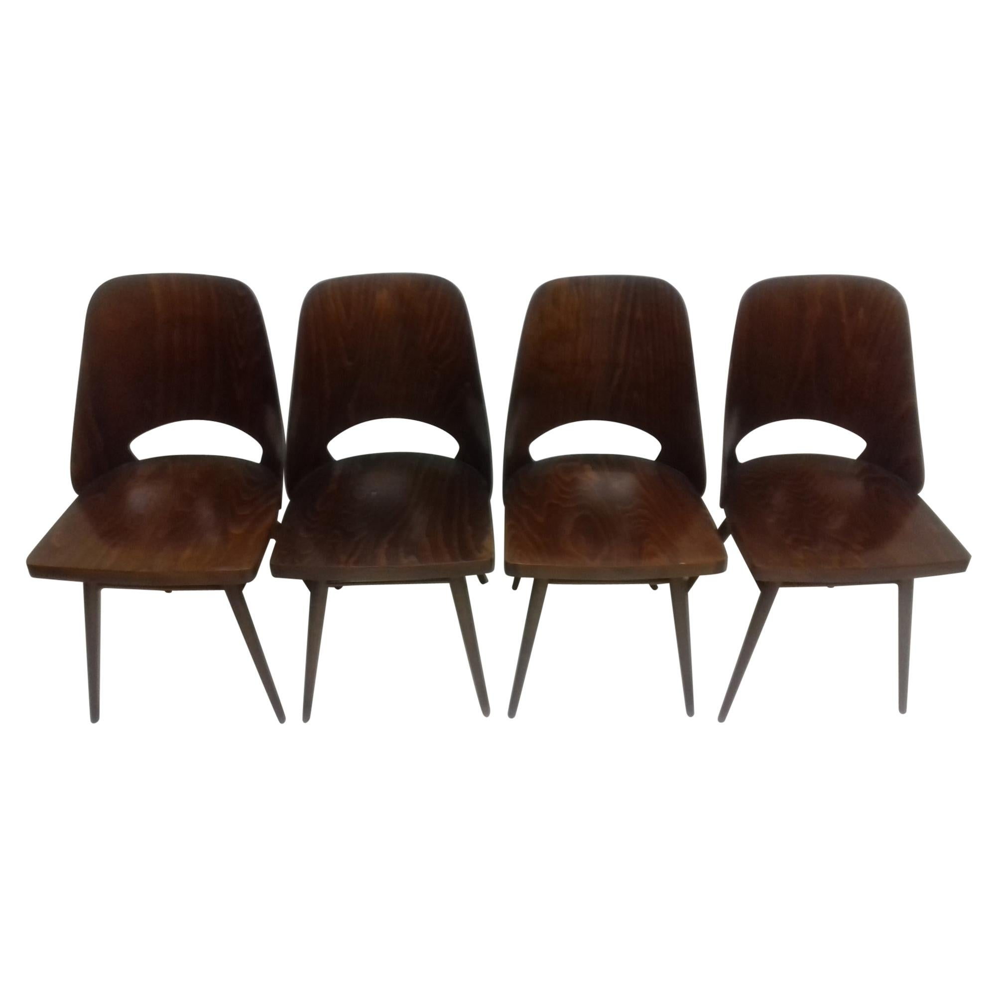 Set of Four Dining Chairs or Thonet, 1960s
