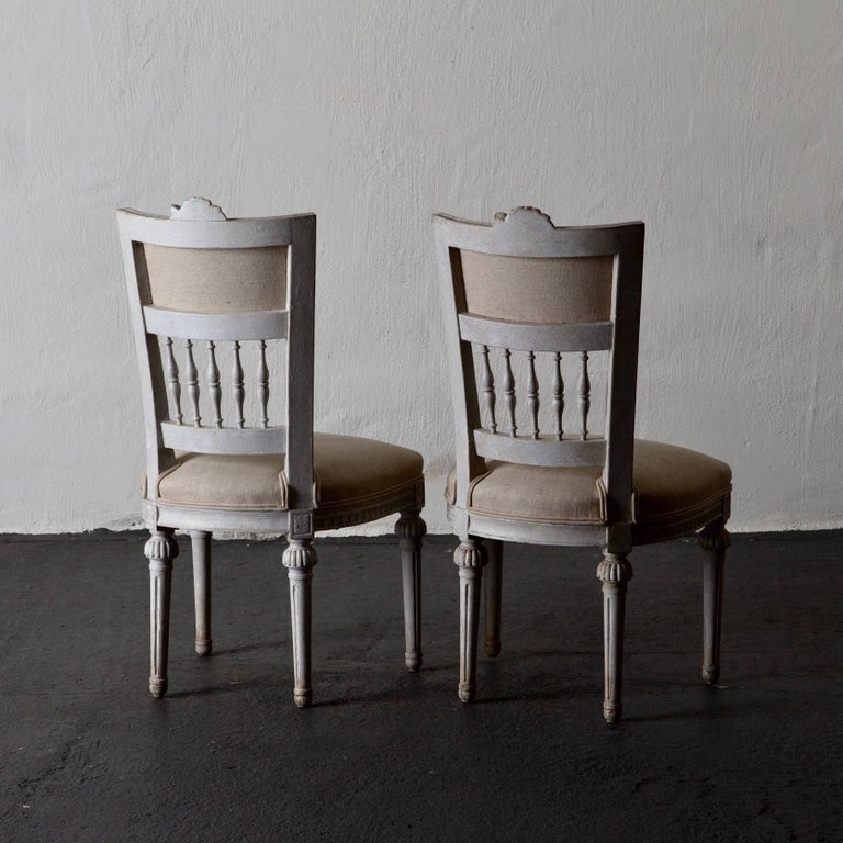 Hand-Painted Set of Four Dining Chairs, Swedish Gustavian 19th Century White, Sweden For Sale