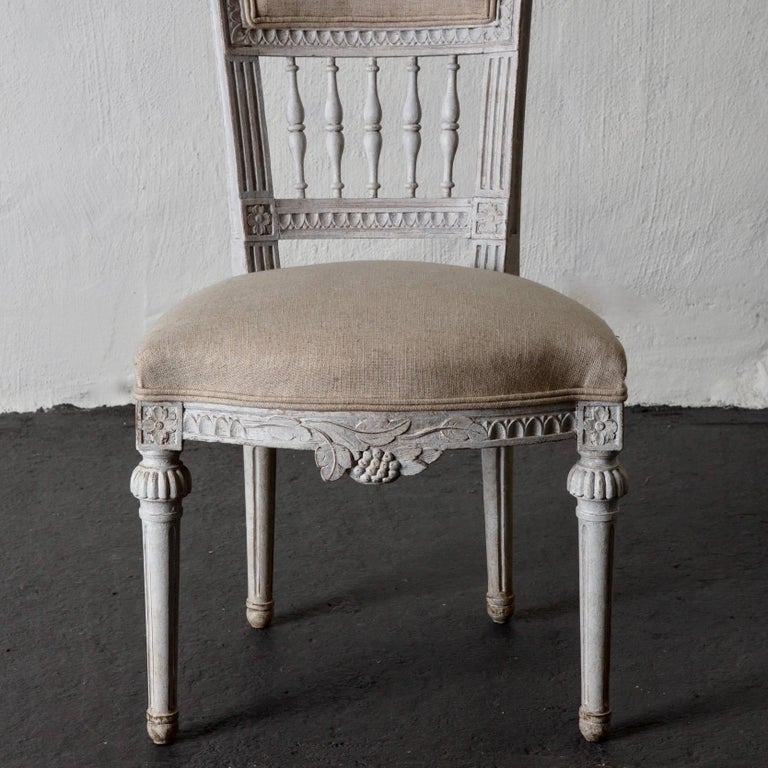 Wood Set of Four Dining Chairs, Swedish Gustavian 19th Century White, Sweden For Sale