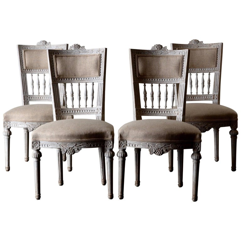 Set of Four Dining Chairs, Swedish Gustavian 19th Century White, Sweden For Sale