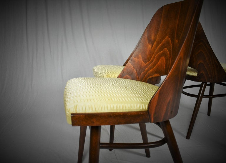 Mid-Century Modern Set of Four Dining Chairs, Ton, Designed by Oswald Haerdtl, 1950s, Expo 58 For Sale