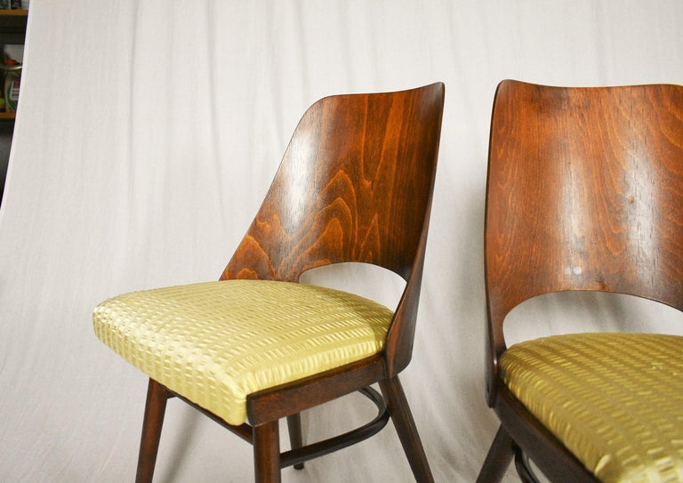 Fabric Set of Four Dining Chairs, Ton, Designed by Oswald Haerdtl, 1950s, Expo 58 For Sale