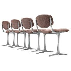 Set of Four Dining Chairs with Cast Aluminum Details
