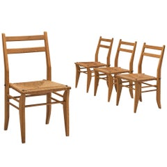 Set of Four Dining Chairs with Rattan Seats by Guillerme et Chambron